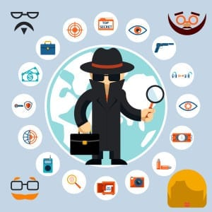 Illustration of a spy with accessories icons. Spy in the black coat and hat with a magnifying glass and briefcase