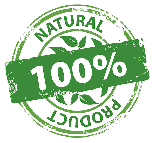 100% natural product sign