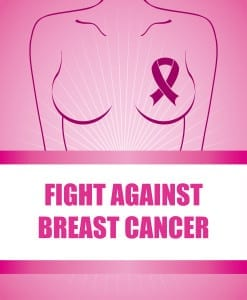 "Breast cancer graphic design, silhouette of woman with a ribbon on her chest and ""Fight Against Breast Cancer"" written below her"