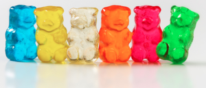 a line of colorful gummy bears