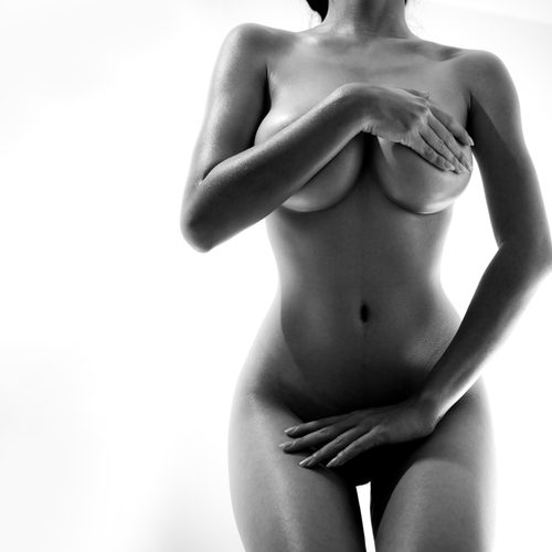 nude woman Artistic posing covering privates black and white photo-img-blog