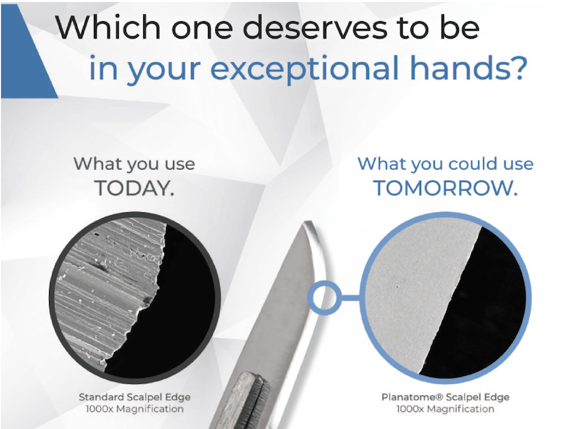 Advertisement showing the difference between the standard scalpel and the planatome scalpel