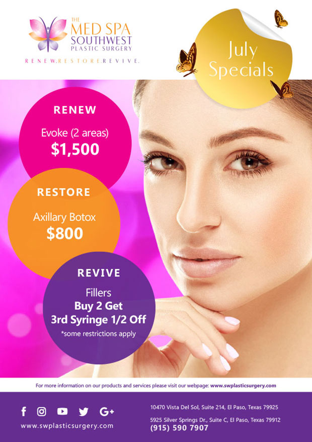 Evoke. 2 areas. $1,500. Axillary Botox. $800. Fillers. Buy 2 get the 3rd syringe half off. Some restrictions apply